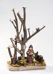 L'ALBERO DEGLI UCCELLI - uomo dei boschi - oggetto decorativo - fantasia - creatività