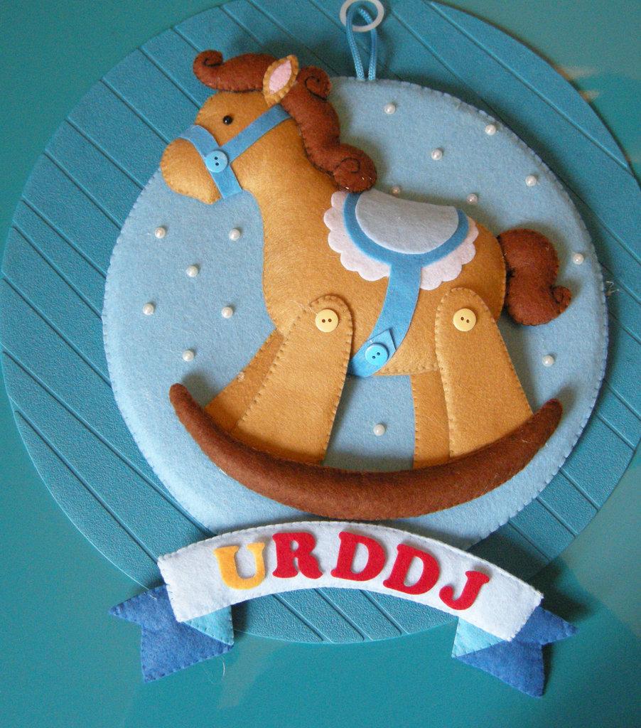 cavallo a dondolo - annuncio - ghirlanda - fiocco nascita - rocking horse - birth wreath