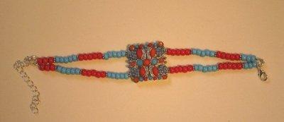 Bracciale 2 fili rosso e turchese