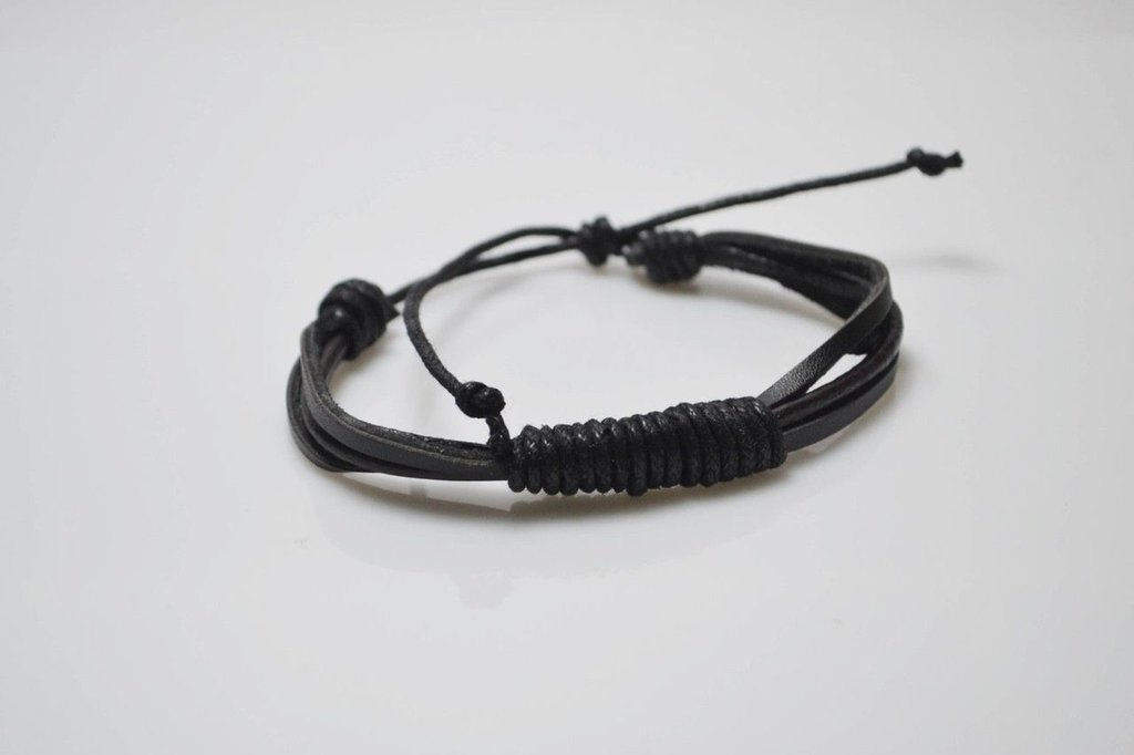 Bracciale bracelet uomo pelle nero chiusura regolabile regalo festa del papà