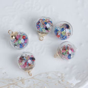 5 Charms in vetro a forma di Bottiglia Trasparente Multicolore con Strass bomboniera bomboniere  per bigiotteria, collane portachiavi, orecchini bomboniera bomboniere chiudipacco