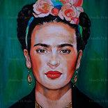 Ritratto della pittrice messicana Frida Kahlo acrilico su tela