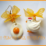 Orecchini gallina Uovo fimo cernit idea regalo natale