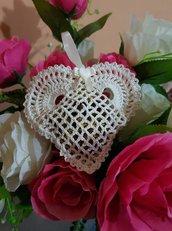 Sacchettino cuore uncinetto  bomboniera