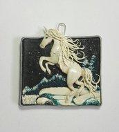"""Quadretto/miniatura """"unicorno delle nevi"""" realizzato a mano in argilla"""
