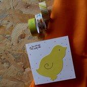 Biglietto di Pasqua pulcino giallo