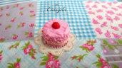 Mini torta fagola 20 mm. ciondolo pendente fimo dolci materiale bigiotteria accessori