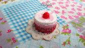 Mini torta crema e fagola 20 mm. ciondolo pendente fimo dolci materiale bigiotteria accessori