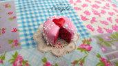 Mini torta fagola cuore 20 mm. ciondolo pendente fimo dolci materiale bigiotteria accessori