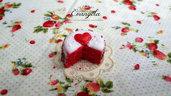 Mini torta  cuore 20 mm. ciondolo pendente fimo dolci materiale bigiotteria decoden bomboniere