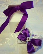 Fiocco viola e argento con bijoux