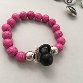 Bracciale a bottone Rosa - Kettlebell + Immagine -
