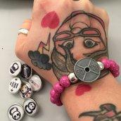 Bracciale a bottone rosa : Disco + Immagine