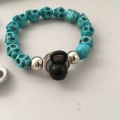 Bracciale Teschi a Bottone Azzurro : Kettlebell + Immagine