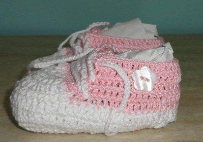 scarpine cotone uncinetto con botoncino neonato neonata