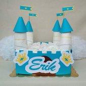 Torta di pannolini idea regalo nascita - per bimbo o bimba rosa castello con nome -