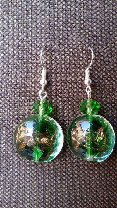 Vetro murano verde orecchini