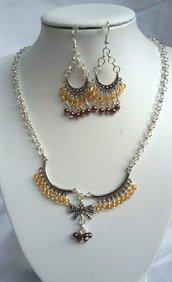 Collana e orecchini cristallo d'Austria e acrilico