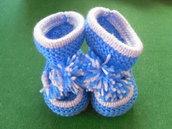Scarpine neonato a maglia rinforzate con chiusura a fiocco