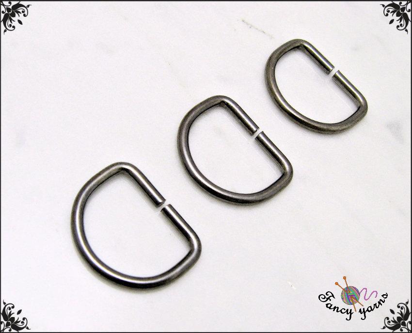 10 anelli D, spazio interno mm.12,  in metallo a filo tondo apribile, colore canna di fucile