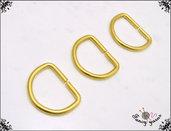 10 anelli D, spazio interno mm.10,  in metallo a filo tondo apribile, colore oro
