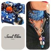 foulard baralino in blu e arancione
