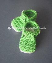 Scarpine alla bebè/scarpine neonato - cotone verde brillante - uncinetto
