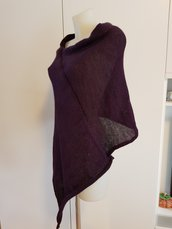 Poncho bordeaux da donna morbido e sottile,misto lana