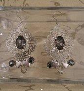 Orecchini filigrana argento con strass e charms