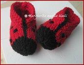 Scarpine coccinella/babbucce neonato - lana merino - fatte a mano - maglia
