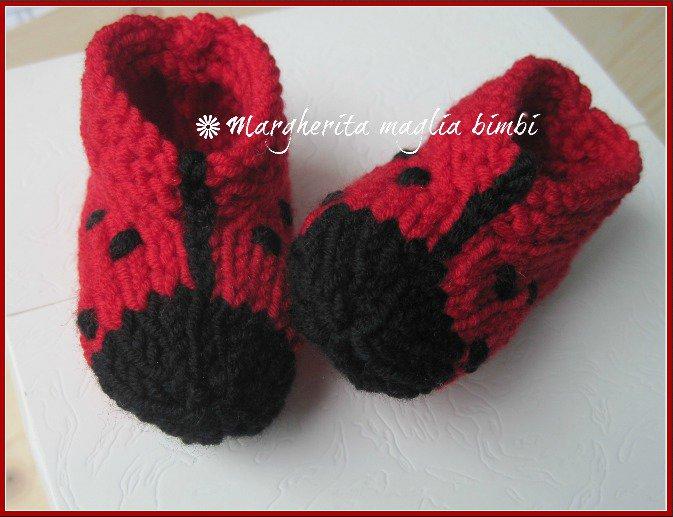 super popular 157d2 02a2f Scarpine coccinella/babbucce neonato - lana merino - fatte a mano - maglia