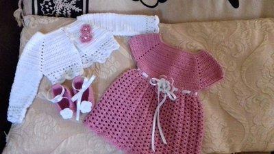 Vestitino neonata con golfino e scarpette