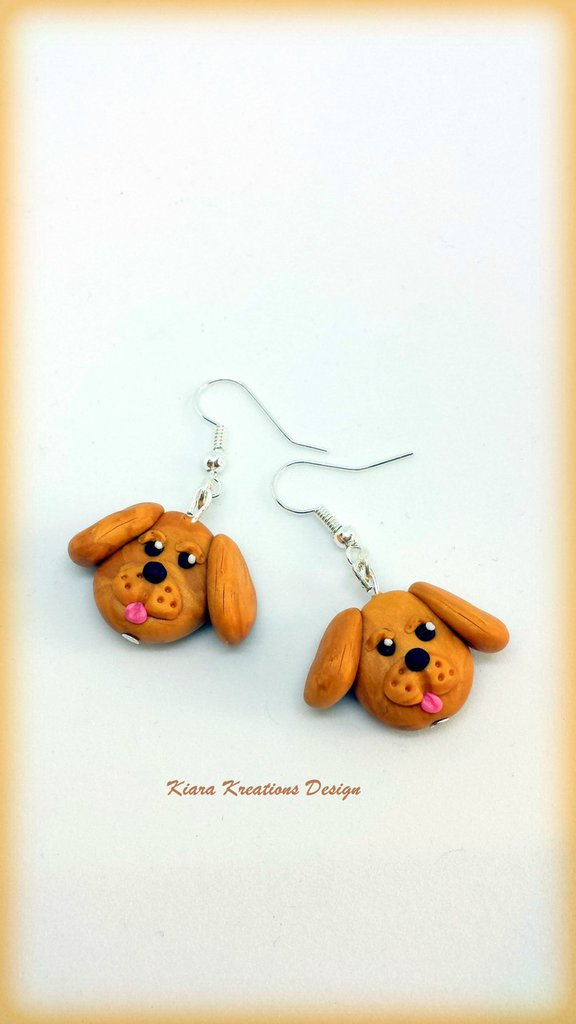 Orecchini In Fimo Cani Labrador Golden Retriever Kawaii Miniatur