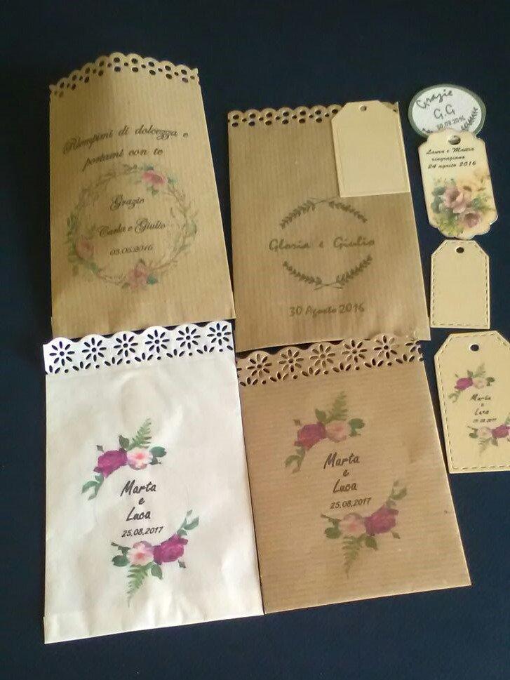 20 Sacchetti-bustine  carta kraft avana portariso, portaconfetti per confettata personalizzati