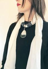 foulard gioiello bianco