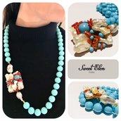 collana in pasta turchese con inserzioni di alluminio,corallo e perle