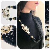collana multifilo con cristalli di rocca,perle di fiume,perle scaramazie e onice