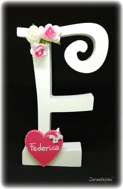 Lettera legno decorata, cake topper, comunione, lettera decorativa, decorazione per bambina, cake topper bambina, lettera personalizzata, alfabeto decorato, iniziale personalizzata