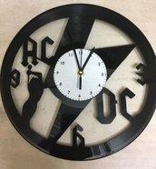 """OROLOGIO DA PARETE IN VINILE REALIZZATO SU UN VERO DISCO LP 33 GIRI """"AC DC"""""""