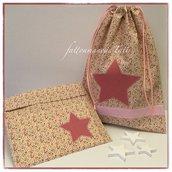 Sacchetto asilo in cotone a fiorellini rosa e bordò con stella a pois e busta coordinata