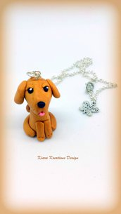 Collana in fimo labrador, golden retriever, cane, miniature, idee regalo compleanno, regalo per appassionati di cani, golden retriever