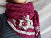 Lunga e morbida sciarpa rosa scuro e grigio chiaro