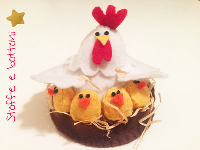 Cestino gallina e pulcini in panno