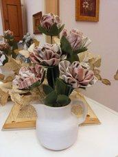 BROCCA CERAMICA color panna con 5 rose in tessuto