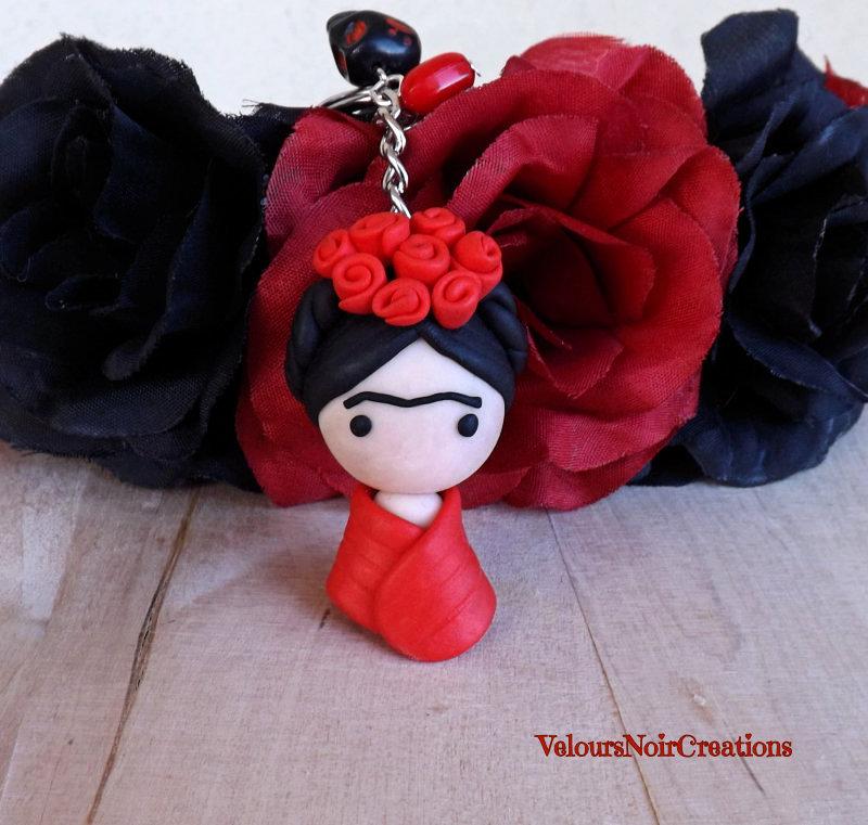 Portachiavi Frida Kahlo in fimo