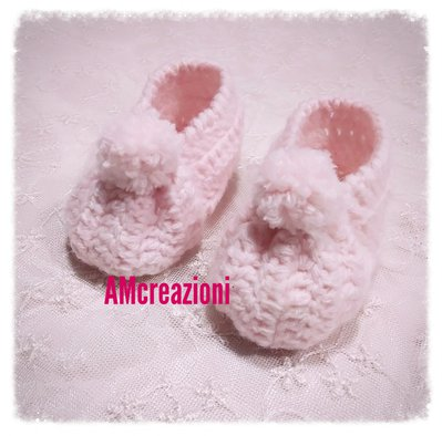 Scarpette bimba uncinetto/crochet in lana
