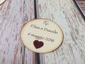 Bigliettini bomboniera matrimonio tondi con scritte sul fronte - cartoncino avorio