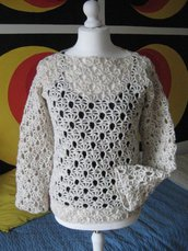 Maglia lana bianca tweed forata all'uncinetto
