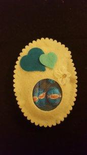 Uovo pasquale in feltro Cuori azzurro/crema