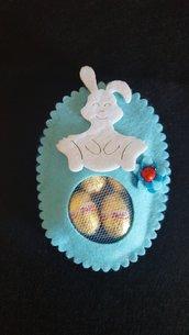 Uovo pasquale in feltro Coniglio bianco/azzurro